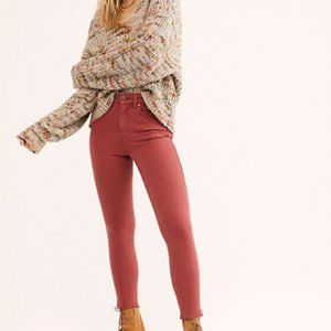 Free People Raw Hems High Rise Skinny Jeans Red 24